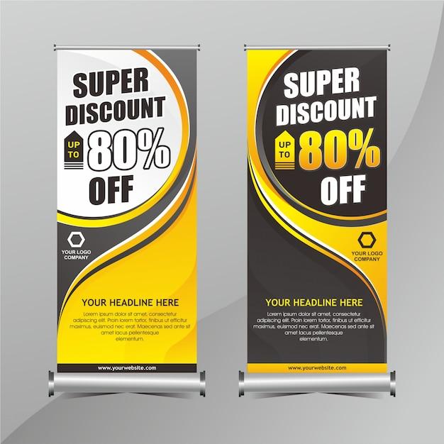 Geel en zwart oprolbare banner Premium Vector