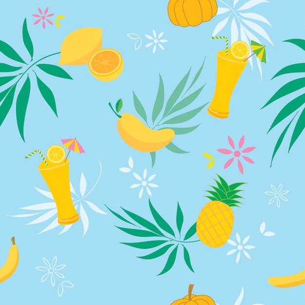 Geel fruitpatroon Premium Vector