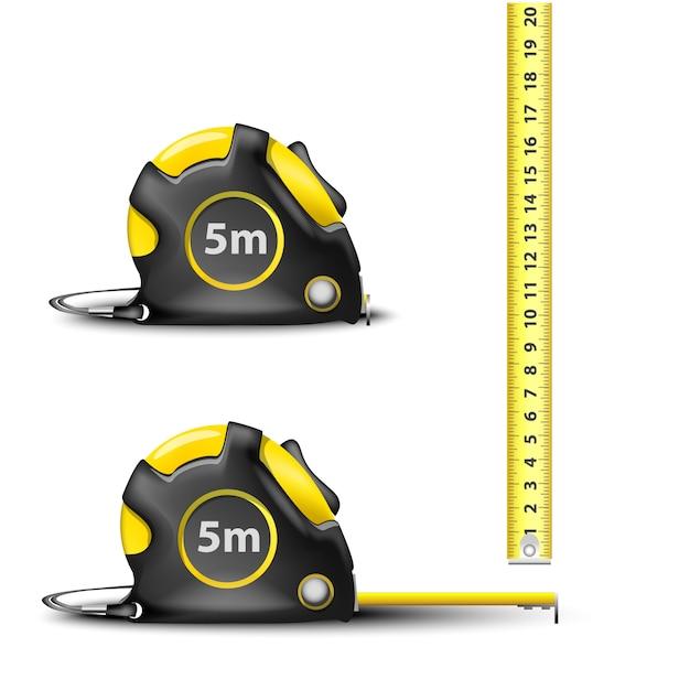 Geel intrekbaar stalen meetlint met imperiale en metrische afmetingen geïsoleerd Premium Vector