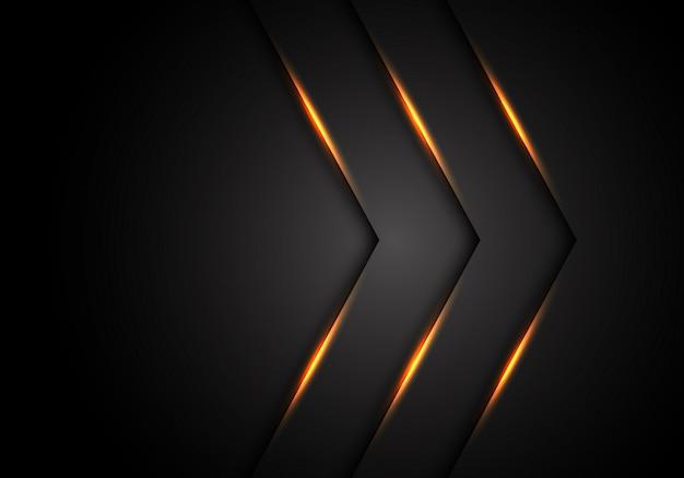 Geel licht pijl richting zwarte lege ruimte achtergrond. Premium Vector
