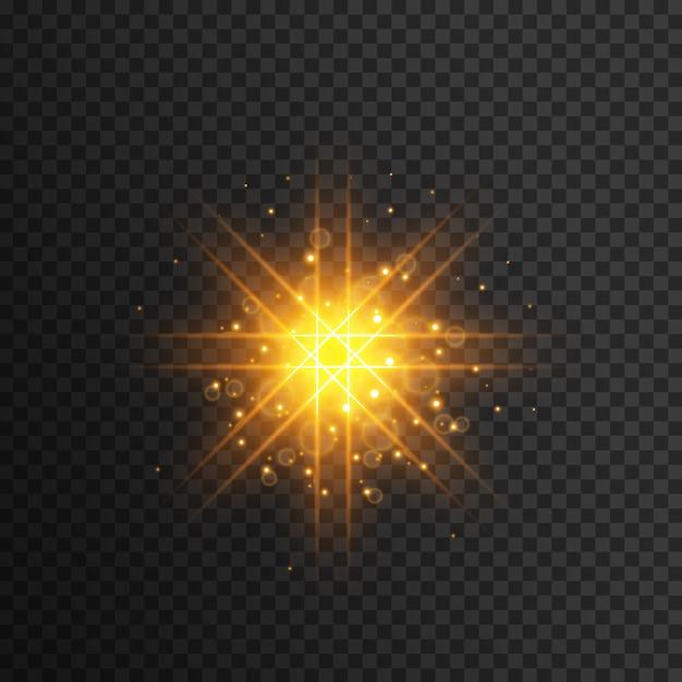 Geel lichtflitseffect Premium Vector