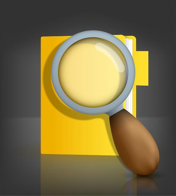 Geel mappictogram met vergrootglas Premium Vector