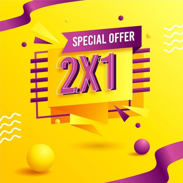 Geel met 3d-vormen 2x1 speciale aanbiedingbanner Premium Vector
