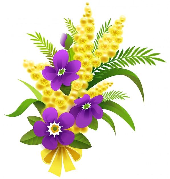 Geel mimosa en violet bloemboeket Premium Vector