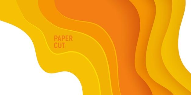 Geel papier gesneden banner met 3d slijm abstracte achtergrond en gele golven lagen. Premium Vector
