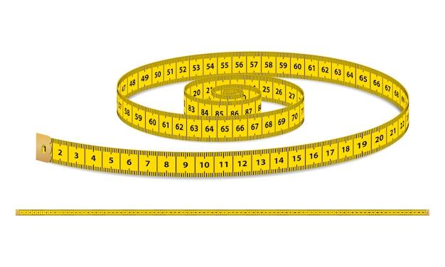 Geel realistisch meetlint, riem voor kleding geïsoleerd Premium Vector