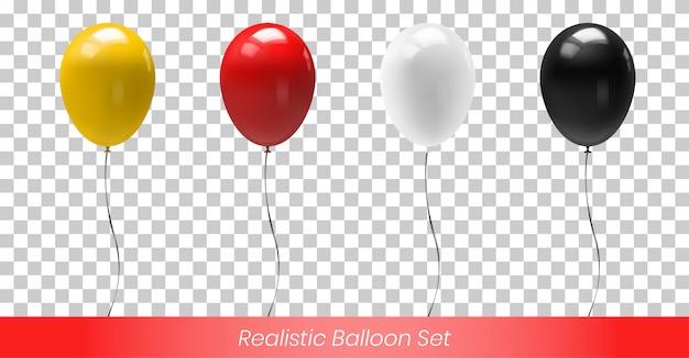 Geel rood wit en zwart reflecterende ballon Premium Vector