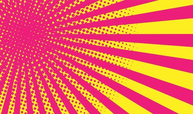 Geel-roze gradiënt halftone achtergrond. pop-art stijl. Premium Vector