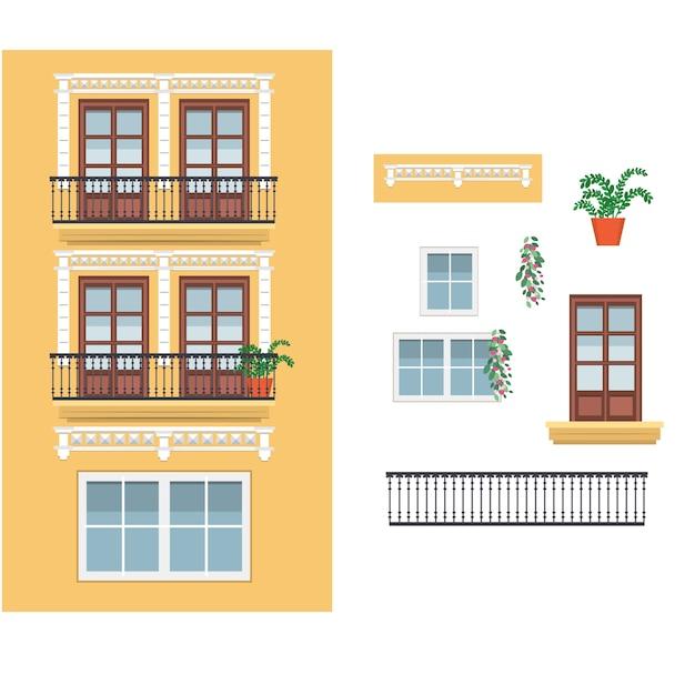 Geel spaans gebouw met balkons Premium Vector