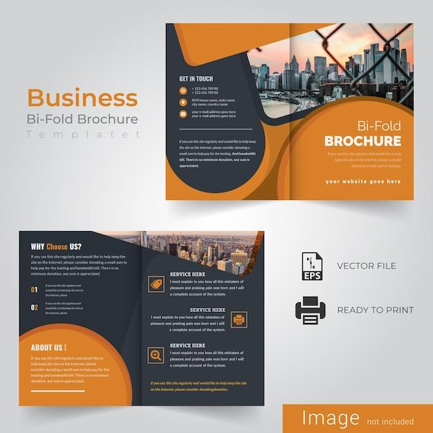Geel tweevoudig brochureontwerp Premium Vector