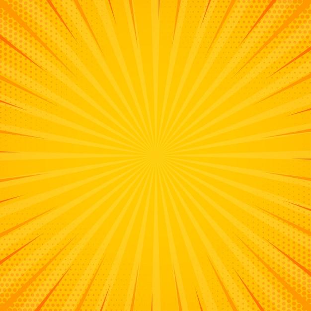 Geel zijluik met halftooneffect. vintage pop-art retro achtergrond. vector illustratie Premium Vector