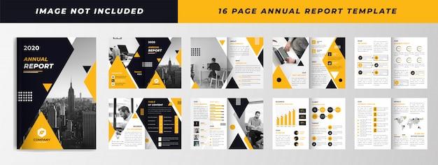 Geel zwart 16 pagina jaarlijkse rapportsjabloon Premium Vector