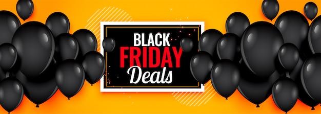 Geel zwart vrijdag deals ballonnen banner Gratis Vector
