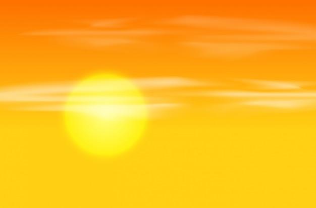 Geeloranje zonsondergang achtergrond Gratis Vector
