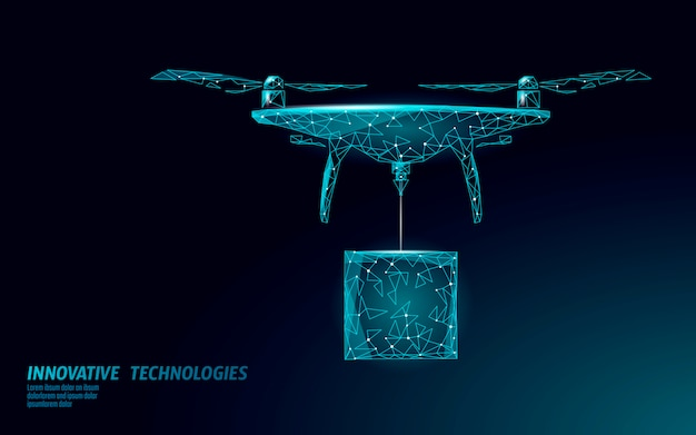 Geen drones city-sjabloon voor spandoek. regulering van onbemande luchtvaartuigen in de lucht. wet verbiedt de bescherming van de privacy van vliegtuigen. informatiebeveiliging in de privézone. veelhoekige illustratie. Premium Vector