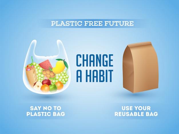 Geen gebruik van plastic zakken en herbruikbare (biologische) tassen Premium Vector