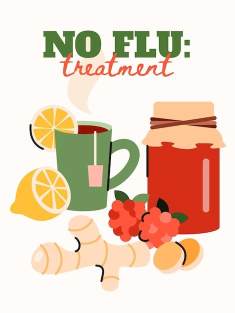 Geen griepbehandeling poster met huismiddelkuren - Premium Vector