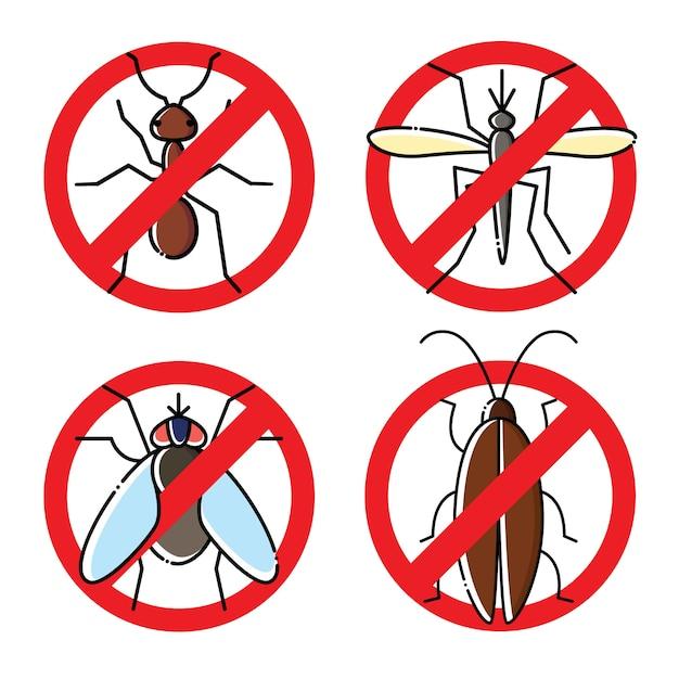 Geen insecten vlakke pictogrammen instellen. insecticide symbolen. Premium Vector