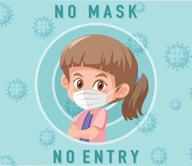 Geen masker geen vermelding bord met schattig meisje stripfiguur Premium Vector