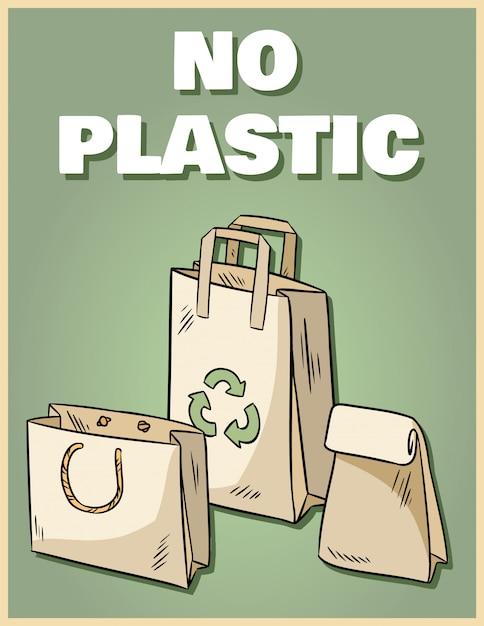 Geen plastic papieren zakkenposter. motiverende zin. Premium Vector