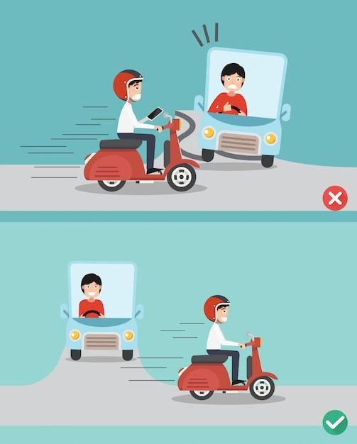Geen sms'en, niet praten, goed en fout rijden om auto-ongelukken te voorkomen. Premium Vector