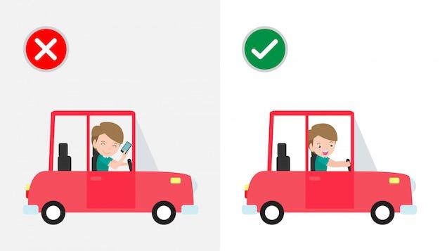 Geen sms'en, niet praten, goede en verkeerde manieren rijden om auto-ongelukken te voorkomen. geen autorijden en telefoon met teken geïsoleerd Premium Vector