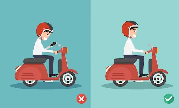 Geen sms'en, niet praten, goede en verkeerde manieren rijden om auto-ongelukken te voorkomen Premium Vector