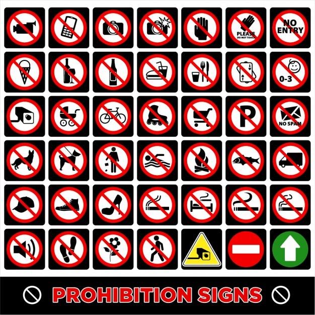 Geen symbool verbodsborden Gratis Vector