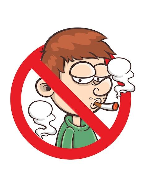 Geen teken van roken - cartoon karakter illustratie Premium Vector