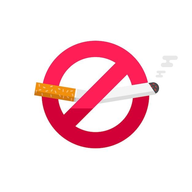 Geen teken van roken, rook geen pictogram badge op witte achtergrond Premium Vector