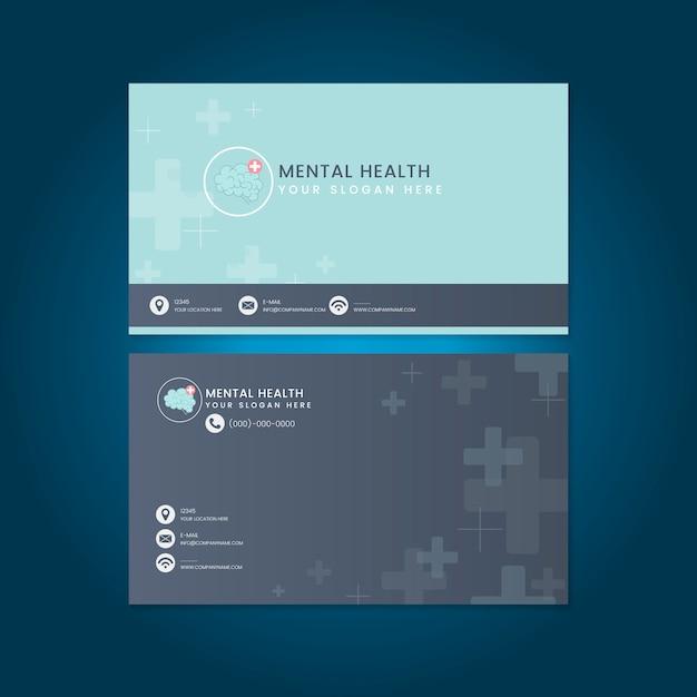 Geestelijke gezondheid psychiater naam kaart mockup vector Gratis Vector