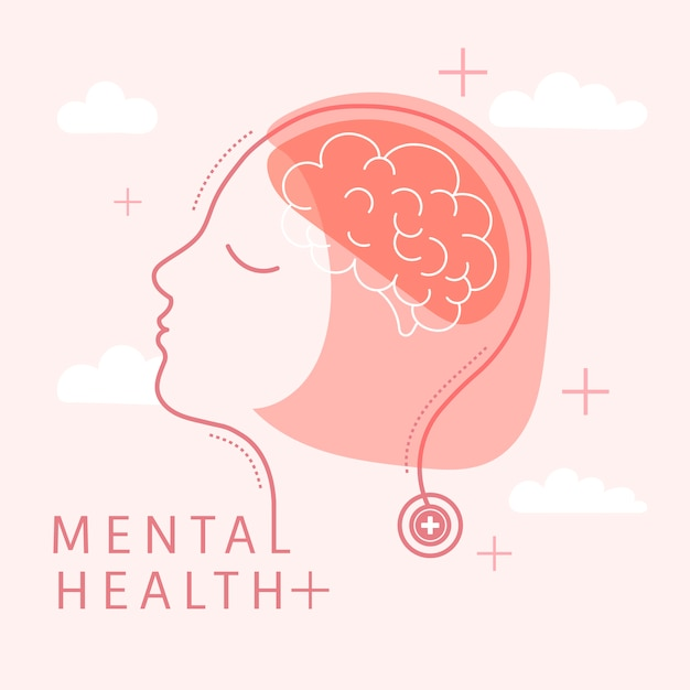 Geestelijke gezondheid voor vrouwenvector Gratis Vector