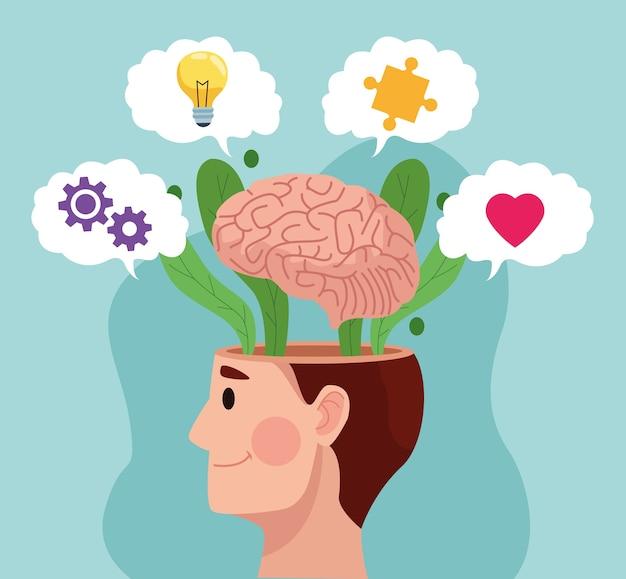 Geestelijke gezondheidsdag man profiel en hersenen met vaste items Premium Vector