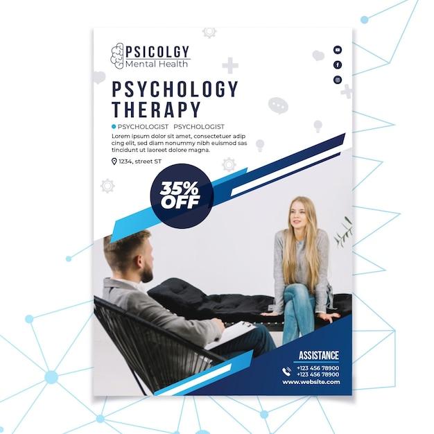 Geestelijke gezondheidspsychologie raadplegen poster sjabloon Gratis Vector