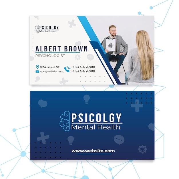 Geestelijke gezondheidspsychologie raadplegen sjabloon voor horizontale visitekaartjes Premium Vector