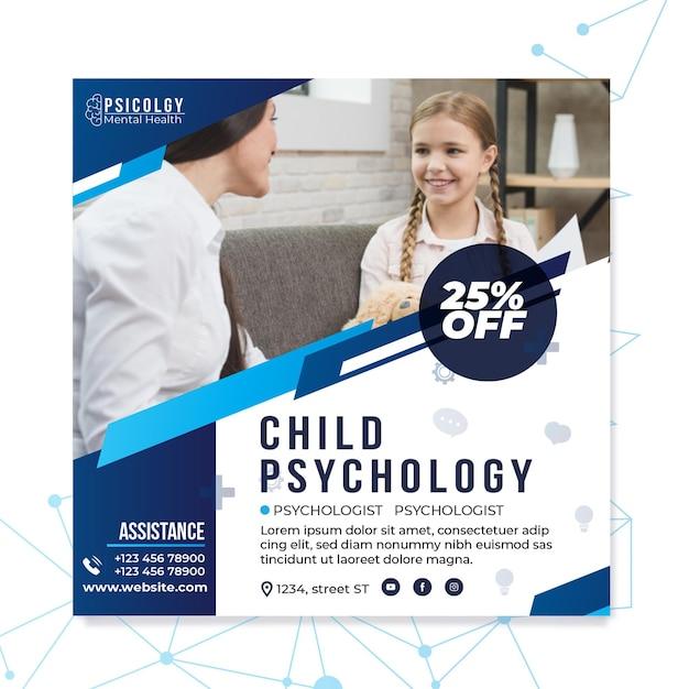 Geestelijke gezondheidspsychologie raadplegen vierkante flyer-sjabloon Gratis Vector