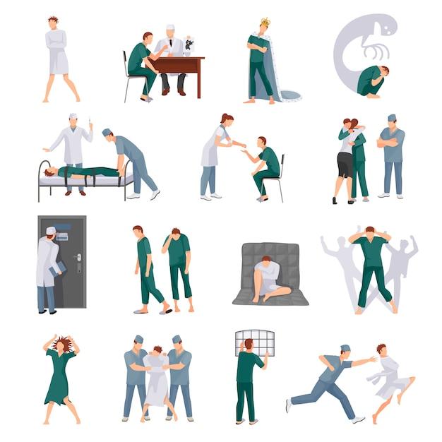 Geestelijke ziektepictogrammen die met gekke mensen en medisch personeel in diverse situaties geïsoleerde vector worden geplaatst i Gratis Vector