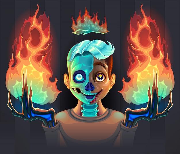 Geestjongen met vuur in zijn handen Premium Vector