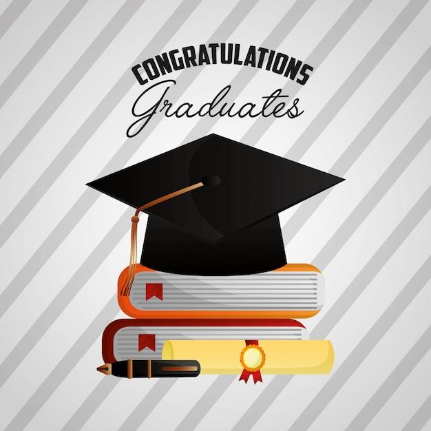 Gefeliciteerd afstuderen achtergrond Gratis Vector