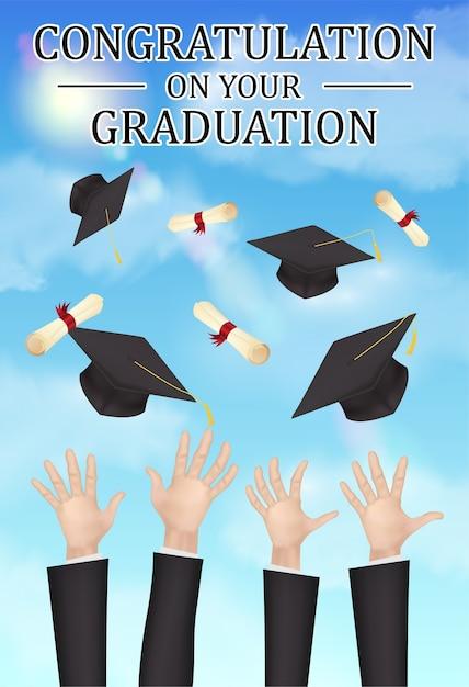 gefeliciteerd met je afstuderen Gefeliciteerd afstuderen hand gooien hoed diploma | Vector  gefeliciteerd met je afstuderen