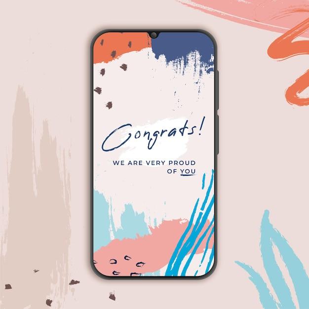 Gefeliciteerd banner voor smarthphone in memphis Gratis Vector