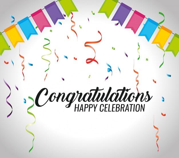 Gefeliciteerd evenement met feestdecoratie en confetti Gratis Vector
