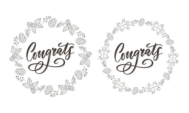 Gefeliciteerd gefeliciteerd kaart belettering kalligrafie tekst penseel Premium Vector
