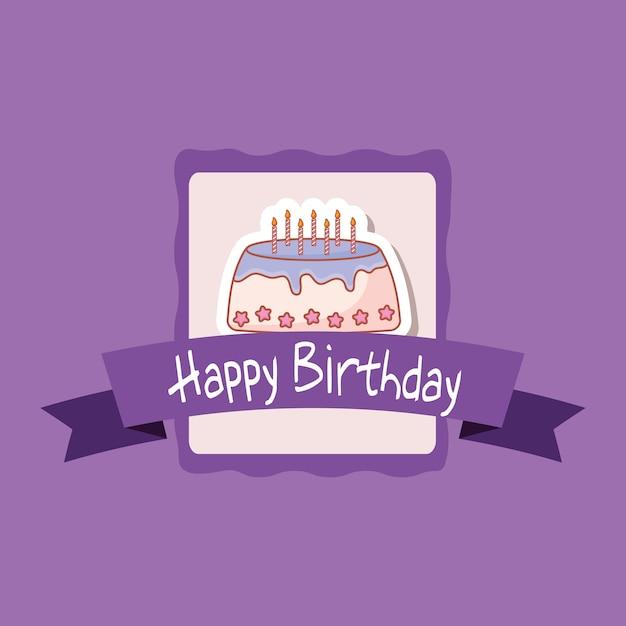 Gefeliciteerd Met Je Verjaardag Frame Met Zoete Cake Vector