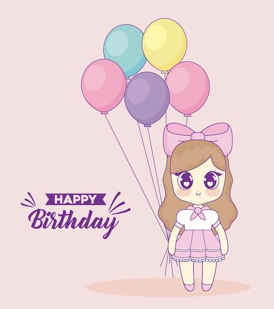 Gefeliciteerd Met Je Verjaardag Met Kawaii Anime Girl Vector