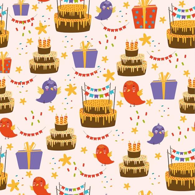 Gefeliciteerd Met Je Verjaardag Patroon Met Vogels En Cake Vector