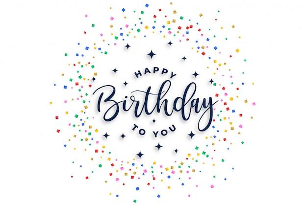 Gefeliciteerd met je verjaardag viering confetti ontwerp Gratis Vector