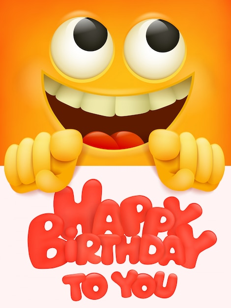 Gefeliciteerd met je verjaardagskaart met emoji Premium Vector