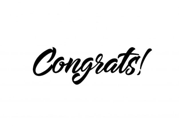 Gefeliciteerd met kalligrafische letters Gratis Vector