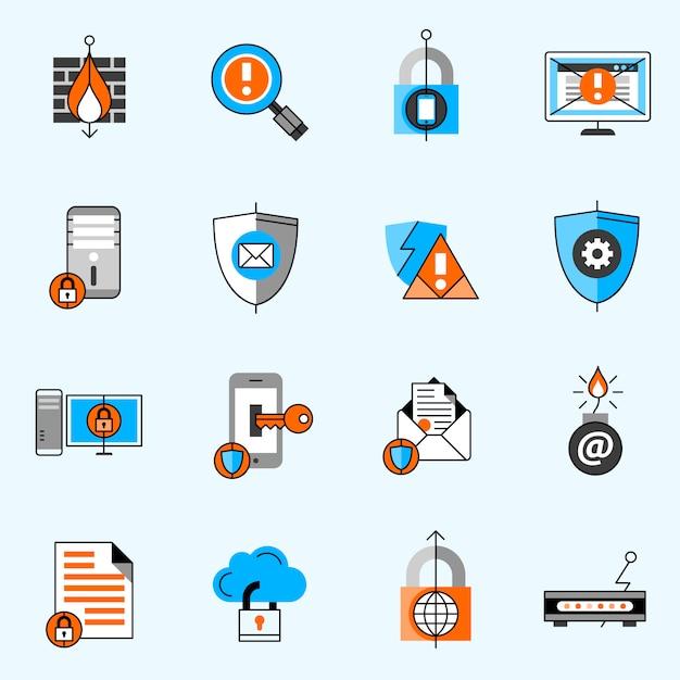 Gegevens beveiligingslijn pictogrammen instellen Premium Vector